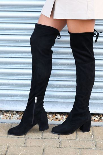 Linzi Black Suede Block Heeled Over The Knee Boot with Tie Up Back