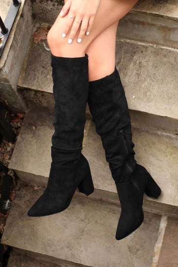 Linzi Black Faux Suede Block Heel Knee High Ruched Boot With Pointed Toe