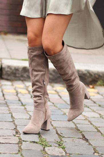 Linzi Nude Faux Suede Block Heel Knee High Ruched Boot With Pointed Toe
