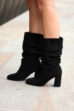 Linzi Black Suede Block Heel Boot With Ruching Detail