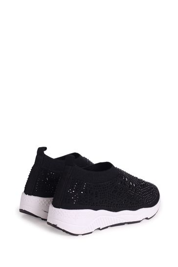 Linzi Black Ambitious Knitted Pull On Embellished Trainer