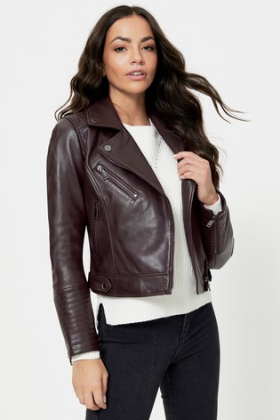 Urban Code Burgundy Leather Biker Jacket
