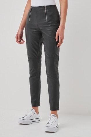 Urban Code Black High Waist Leather Trousers