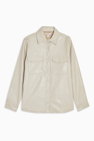 Topshop Faux Leather Shirt Jacket