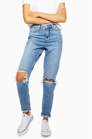 Topshop Short Leg Ripped Mom Jeans