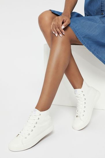 Lipsy White High Top Lace Up Canvas Trainer