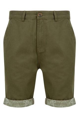 Threadbare Khaki Turn Up Chino Short