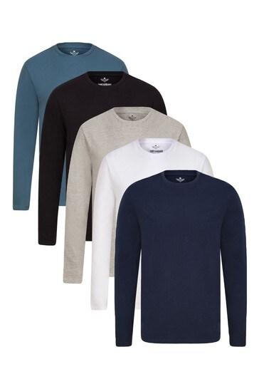 Threadbare Black Multi 5 Pack Long Sleeve T-Shirt