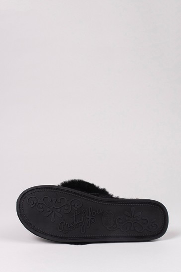 Pretty You London Black Amelie Faux Fur Toe Post Slippers With Diamanté Detail