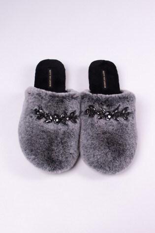 Pretty You London Black Dora Faux Fur Slider With Jewel Trim