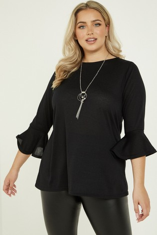 Quiz Curve Light Knit Flare Sleeve Necklace Top
