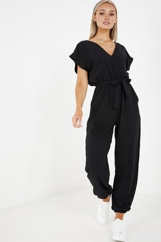 Quiz Tapered Leg Belted Jumpsuit With Batwing Sleeve And V neck