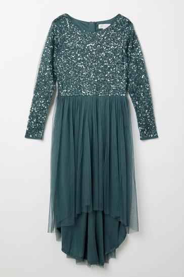 Maya Green Long Sleeve Delicate Sequin Dress With High Low Hem