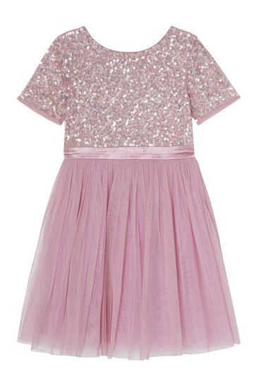 Mini Maya Flutter Sleeve Dress With Scattered Sequin And Asymmetric Hem