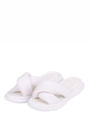 Totes White Isotoner I Flex Waffle Open Toe Slippers