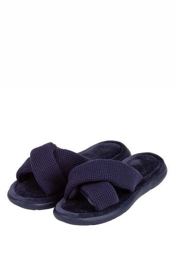 Totes Navy Isotoner I Flex Waffle Open Toe Slippers