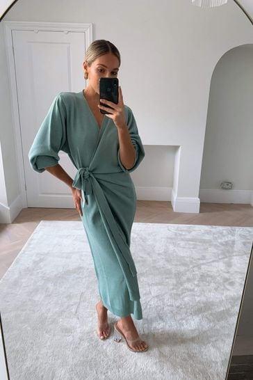 Pretty Lavish Green Beau Wrap Midi Dress