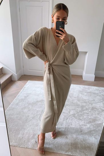 Pretty Lavish Neutral Beau Wrap Midi Dress