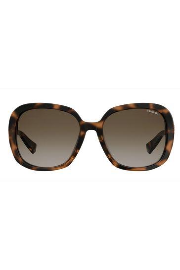 Polaroid Tortoiseshell Square Sunglasses