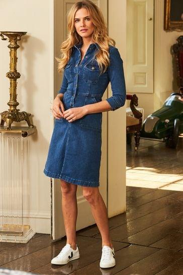 Sosandar Blue Popper Front 3/4 Sleeve Denim Dress