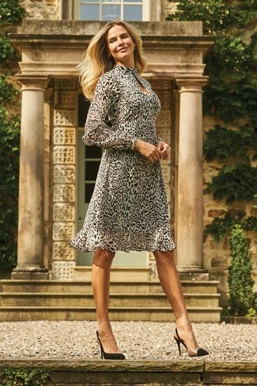 Sosandar Fit And Flare Ruffle Dress