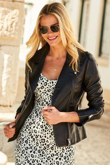Sosandar Black Leather Biker Jacket