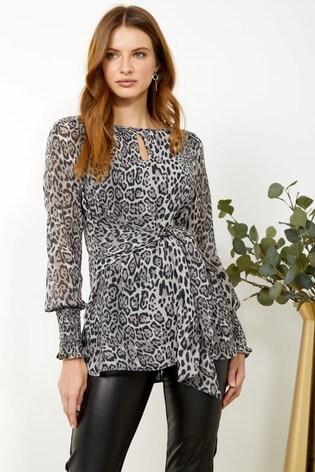 Sosandar Snow Leopard Printed Tie Front Top