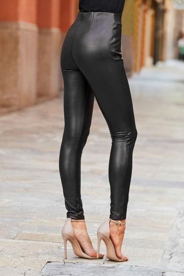 Sosandar Black Leather Look Leggings  Short Leg