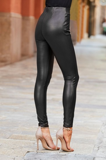 Sosandar Black Leather Look Leggings  Long Leg
