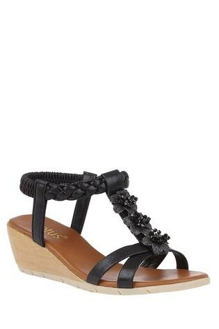 Lotus Footwear Black Wedge Open-Toe Sandals