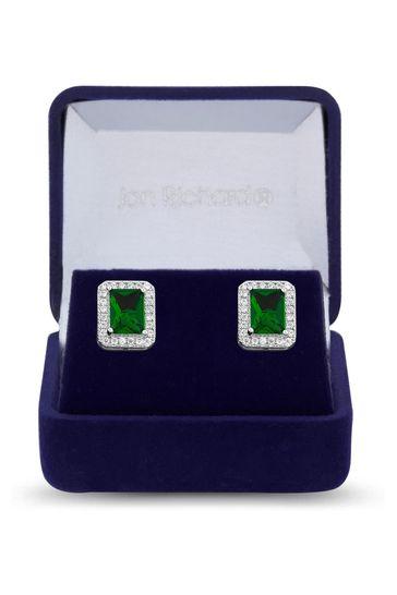 Jon Richard Silver Rhodium Plated Emerald Cubic Zirconia Drop Earrings - Gift Box