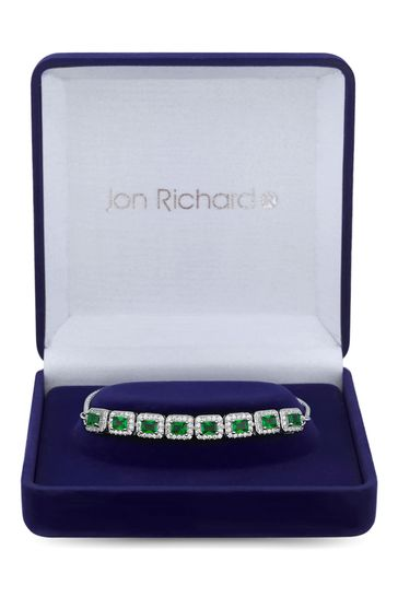 Jon Richard Silver Rhodium Plated Emerald Cubic Zirconia Perfume Bottle Bracelet - Gift Boxed
