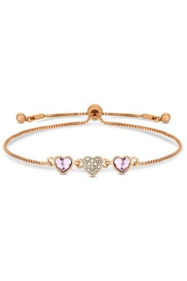 Jon Richard Rose Gold Plated Pink Dancing Heart Made with Swarovski Crystals Toggle Bracelet