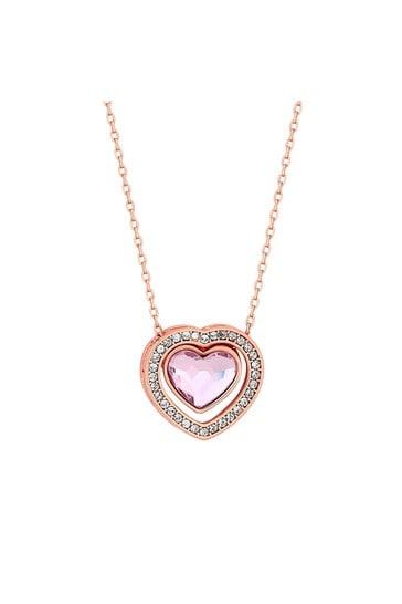 Jon Richard Rose Gold Plated Pink Dancing Heart Pendant Necklace