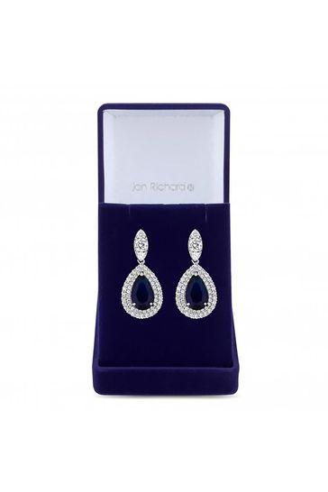 Jon Richard Silver Rhodium Plated Cubic Zirconia Baguette Navette Sapphire Blue Pear Drop Earrings - Gift Boxed