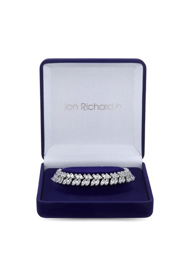 Jon Richard Silver Rhodium Plated The Duchess Baguette Cubic Zirconia Crystal Statement Bracelet - Gift Boxed