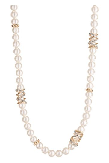 Jon Richard Gold Plated Pave Encased Cream Pearl Necklace