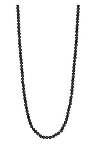 Jon Richard Silver Plated Black Beaded Long Necklace