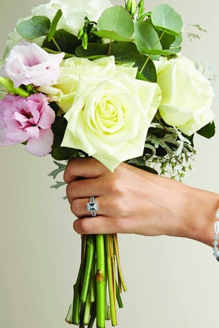 Jon Richard Rhodium Plated Crystal Pave Megan Sized Ring