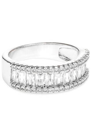 Jon Richard Rhodium Plated Cubic Zirconia Baguette Channel Cocktail Ring