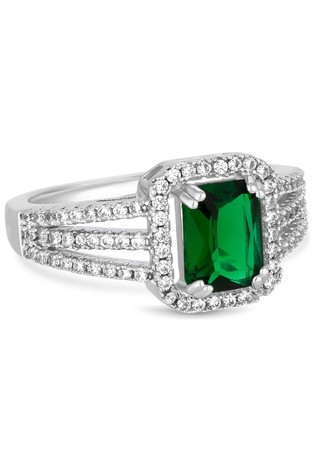 Jon Richard Rhodium Plated Cubic Zirconia Green Centre Pave Band Ring