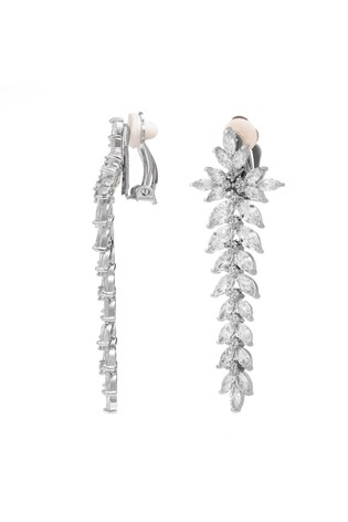 Jon Richard Silver Plated Cubic Zirconia Crystal Statement Clip On Earring