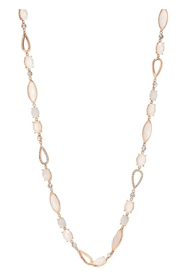 Jon Richard Rose Gold Plated Crystal Mixed Stone Long Necklace