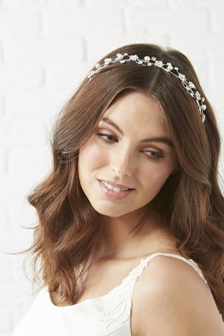 Jon Richard Silver Nina Crystal Flower And Pearl Waves Headband