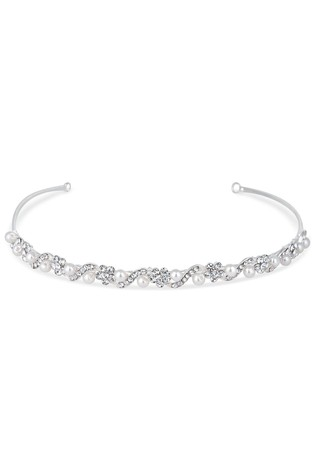 Jon Richard Silver Isabella Crystal And Pearl Flower Headband