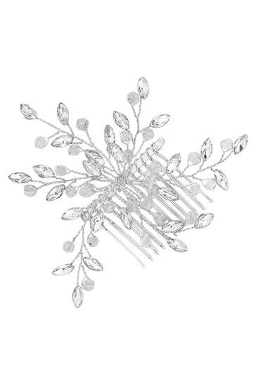 Jon Richard Silver Plated Thea Clear Crystal Bead Spray Hair Comb