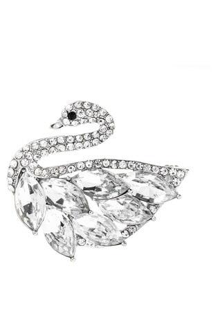 Jon Richard Silver Crystal Swan Brooch Made with Swarovski Crystals - Gift Boxed