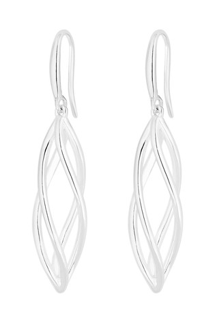 Simply Silver Sterling Silver 925 Polished Cage Drop Earrings