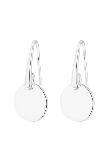 Simply Silver Sterling Silver 925 Polished Disc Drop Earrings