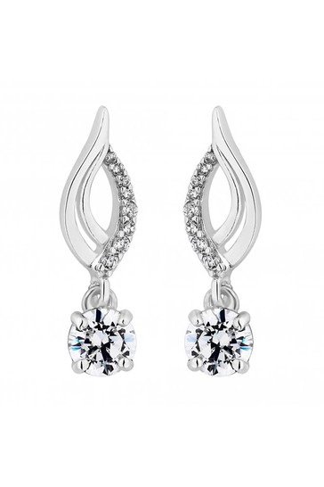 Simply Silver Sterling Silver 925 Polished Cubic Zirconia Single Solitaire Drop Earrings